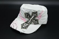 Kbethos White Black Pink Cross Bedazzled Distressed Fashion Breton Hat Cap