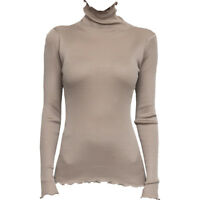 Lady Silk Knitted Shirts Tops Blouse Undershirt Turtleneck Elastic Ruffled Trim