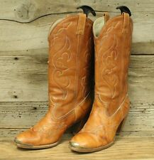 ACME VTG WOMENS BROWN LEATHER STACKED HEEL WESTERN/COWBOY BOOTS SZ 8M