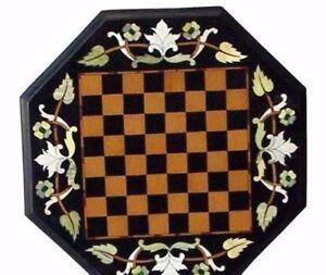 "18"" Black Marble Inlay Chess Table Top Semi Precious Stones Work Home Decor"