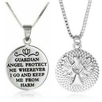 Heart Fashion Rose Gold Silver Angel Pendant Necklaces Gift Guardian Women Acces