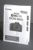Canon EOS 800D / T7i Genuine Camera Instruction Book / Manual / User Guide