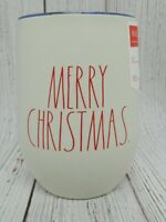 Rae Dunn White Merry Christmas Red Lettering Holiday Stainless Wine Tumbler NEW