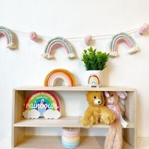 NWT Handmade Rainbow Pom Pom Garland Kids Decoration Kids Room Baby Shower