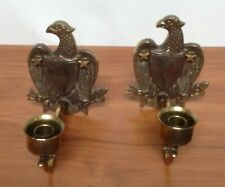 2 Brass Candle Holders American Eagles Wall Sconces Collectible