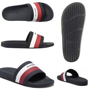 New TOMMY HILFIGER Earthy Dark Blue Men's Comfort Designer Sandals Slides Size 9