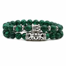 Buddha Head 2 Row Bracelet Unique Natural Energy Stone Malachite
