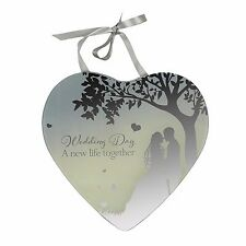 Reflections Mirror Hanging Heart Plaque Gift Wedding Day 61411