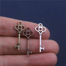 20Pcs Antique Bronze Silver Copper Key Shaped Pendants Charms Crafts Findings