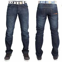 New Mens ENZO Straight Leg Classic Fit Jeans In Dark Blue Denim Colour FREE BELT