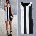 Plus Size Womens Sleeveless Short Mini Dress Summer Beach Party OL Tunic Dresses
