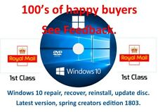 Windows 10 repair, recovery, reinstall  disc ,64 bit, latest version April 2018