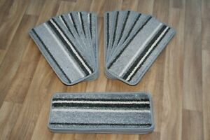 14 Striped Open Plan Carpet Stair Treads Funky Silver 034 14 Large Pads!