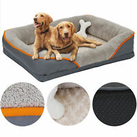 Dog Bed Memory Foam Pet Bed with Removable Washable Cover and Squeaker Toy