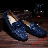 Men Crocodile Pattern Slip On Loafers Moccasin Shoes Bowknot Driving Dress Shoes