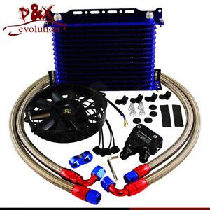 15Row 10AN Oil Cooler Kit & Electric Fan For LS1 LS2 LS3 LSX VE HSV VZ V8 engine