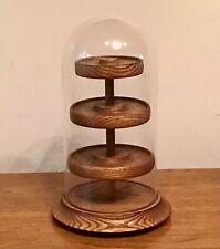 Glass Cover Rotating Bell Jar Display Case Tabletop Wood Base 12�, 4 Shelves