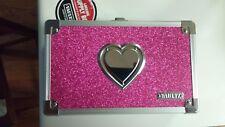 """NEW Vaultz PINK HEART LOCKING Pencil Box W/KEY 5.5 x 8.25 x 2.5"""""""