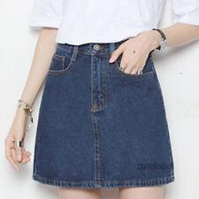 Denim A Line Mini Skirt Jean Fashion Vintage Washed Blue Black High Waist New