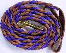 "6'8"" ft Horse Leather Braided Lead Rope w/Metal Snap Brown/Purple Color"