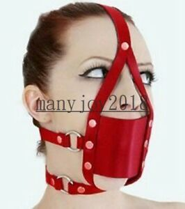 Soft Solid Oral Gag Mouth Cover with Head Hood Restraint PU Leather Heargear