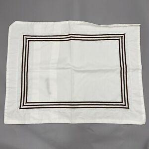 Pottery Barn Grand Small Accent Pillow Cover/Sham Brown Stripe Embroidered Rare
