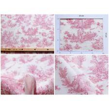 coupon tissu Toile de Jouy MINI PASTORALE (petit, rouge fd ivoire)