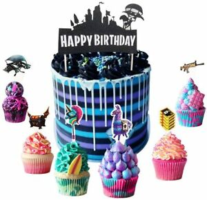 25PCS Fortnite Battle Royale Game Cupcake Toppers for Kids Birthday Party Cake