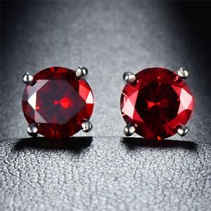 Sterling Silver 925 Birthstone Stud Earrings Round Cut CZ Womens Babys Girls Men