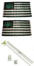 3x5 5 Point Weed Usa Marijuana 2ply Flag White Pole Kit Set 3'x5'