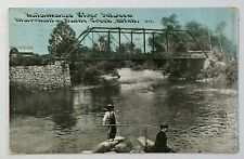 Kalamazoo River Between Marshall & Battle Creek MI RR Trestle DB Postcard 9220