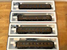 4 Stück: Roco 4221A 44262 44267 44268 NSB Reisezugwagen, Ep III braun, OVP
