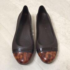 Crocs Womens Flats Sz 10 Brown Ballet Rubber Slip On Dress Shoes Garden Tortoise