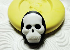 "SKULL CAMEO 1"" Silicone Resin Polymer Clay FIMO Fondant Flexible Push Mould"