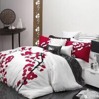 Yoko Blossoms Red Duvet   Doona Quilt Cover Set by Logan & Mason   Single