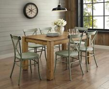 Farmhouse Dining Table Set Rustic Wood Country Kitchen Metal Green Chair 7 Piece