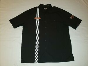 HARLEY DAVIDSON Logo BUTTON FRONT Short Sleeve Cotton Camp Shirt XL