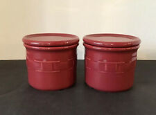 New Listing2 Longaberger Pottery Woven Traditions Paprika 1 Pint Salt Crock W/ Coaster Lid