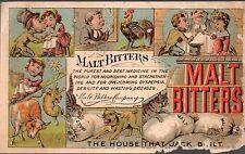 Malt Bitters Co. - Vintage 1800's Trade Card Advertisement - Boston MA