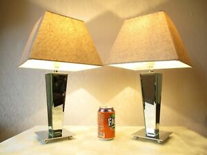PAIR OF MODERN BEVELLED MIRROR AND CHROME TABLE LAMPS WITH LINEN SHADES 25