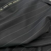 Navy With Silver Pin Stripe 3.5 Meters Suiting Fabric All Wool