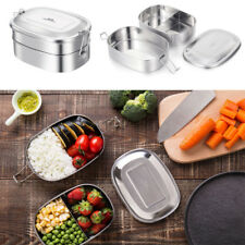 2-in-1 Stainless Steel Lunch Box Bento Box Eco-Friendly Food Container 500ml*2