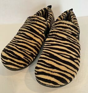 Vionic Tiger Striped Slippers Tan & Black-Kalia Women's Size:7 Slip On
