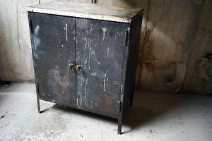 Vintage Black Painted Steel Industrial Factory Side Cabinet c.1940-60