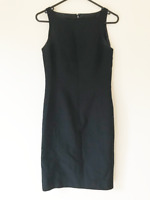 Millers Black Knee Length Pencil Dress Size 8 Sleeveless Round Neck Pleated