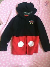 Disney Parks Mickey Mouse Iconic Jacket Hoodie W/ Ears Attraction Icons Zipper L