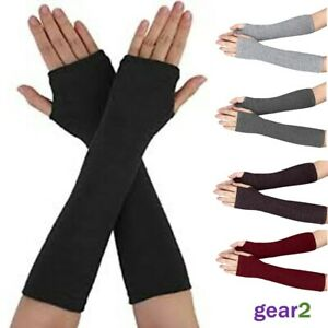 Women Fingerless Ladies Long Gloves Wrist Arm Knitted Mitten Winter Hand Warmer