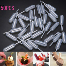 50pcs Plastic Squeeze 4ml Transfer Pipettes Dropper For Cupcake Ice Cream Kit