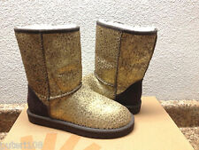 UGG CLASSIC SHORT LEOPARD CALF HAIR METALLIC GOLD BOOTS US 7 / EU 38 / UK 5.5