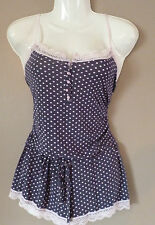 Ladies Navy Blue & Pink Spotty Playsuit All in One Pyjamas Shorts Size 8-10 NEW